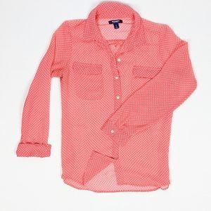 Old Navy Long Sleeve Sheer Button Up Womens Shirt